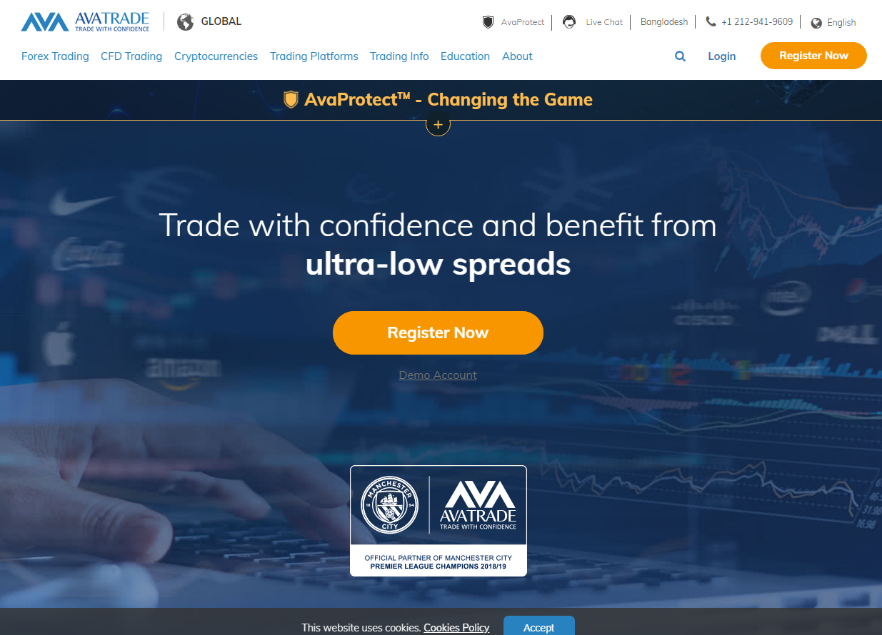 Screenshot of AVA Trade EU Ltd