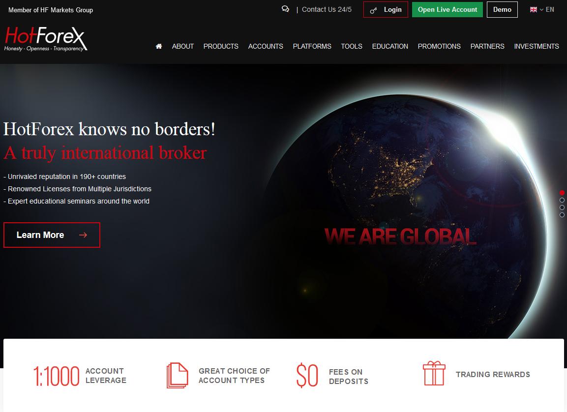 Screenshot of HF Markets (UK) Ltd