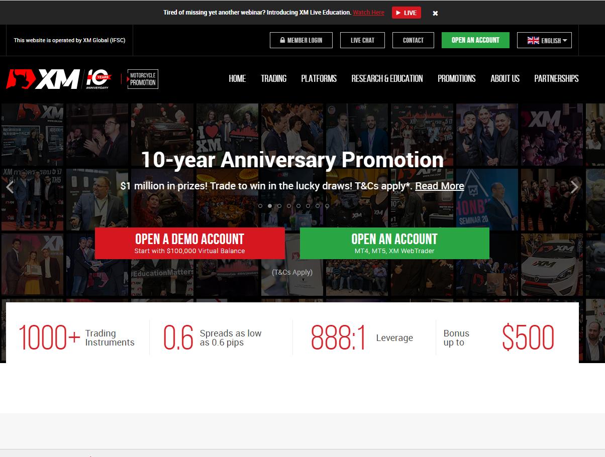 Screenshot of XM Global Limited